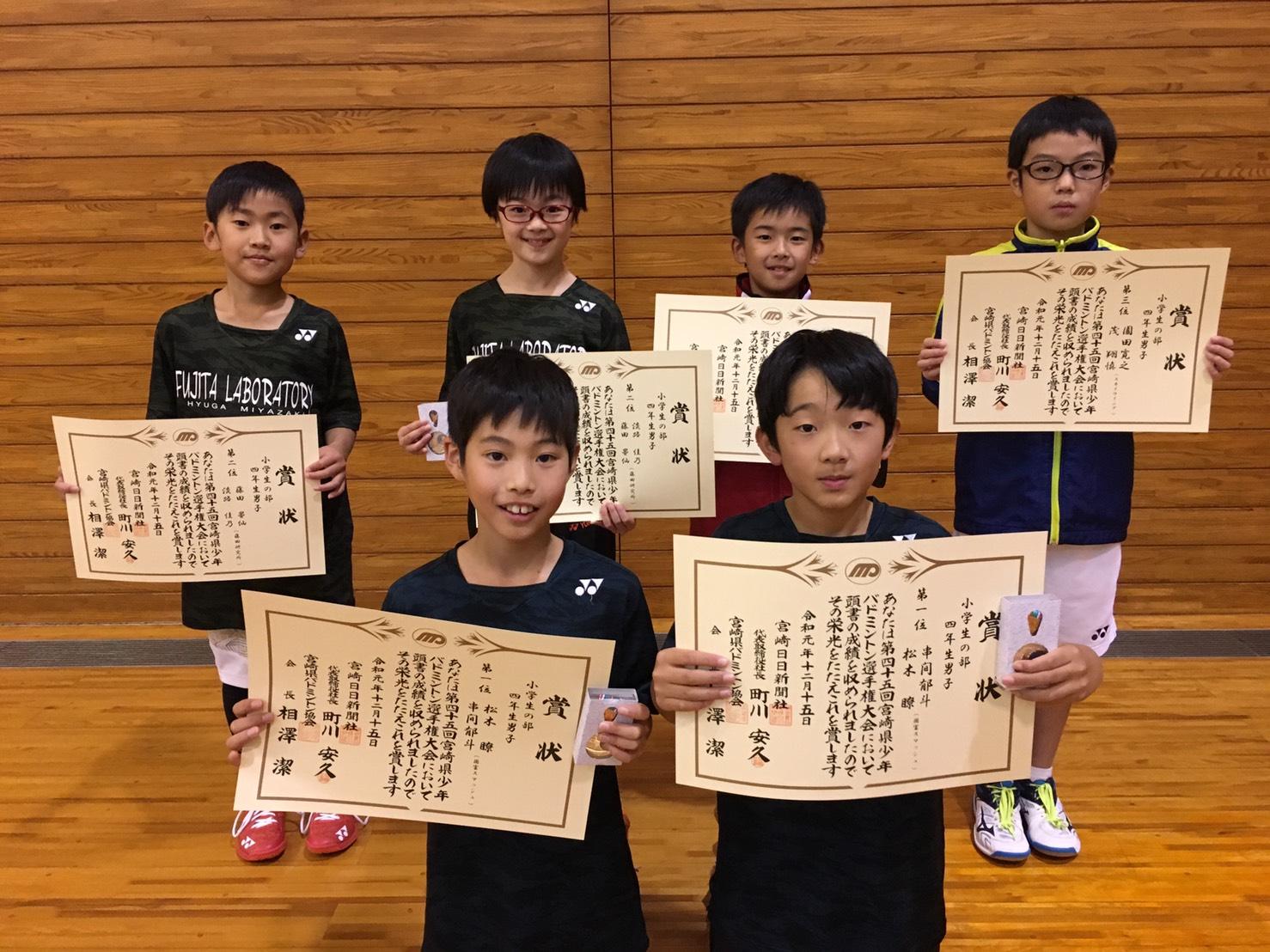 第45回 宮崎県少年バドミントン選手権大会(宮日杯) 結果