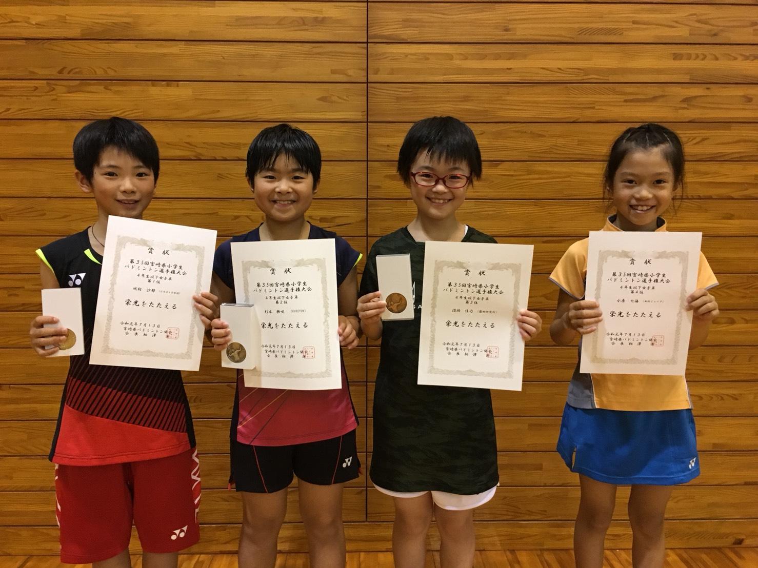 第35回宮崎県小学生バドミントン選手権大会 結果